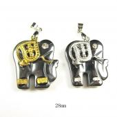 Hematite Elephant 22x28mm Pendant Gold/Silver Plated Cap
