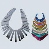 Hematite Graduated Fan Shape 40pc Pendant Assorted Color