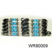 36inch Blue Cat's Eye, Crystal,Magnetic Wrap Bracelet Necklace All in One Set