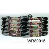 36inch Burgundy Cloisonne ,Crystal,Magnetic Wrap Bracelet Necklace All in One Set