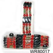 36inch Red Cloisonne,Crystal, Magnetic Wrap Bracelet Necklace All in One Set