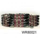 36inch Burgundy Crystal, Alloy,Magnetic Wrap Bracelet Necklace All in One Set