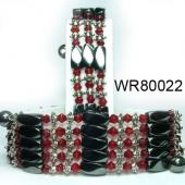 36inch Red Crystal, Alloy, Magnetic Wrap Bracelet Necklace All in One Set
