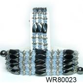 36inch Blue Crystal, Alloy,Magnetic Wrap Bracelet Necklace All in One Set