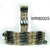 36inch Golden Crystal, Alloy, Magnetic Wrap Bracelet Necklace All in One Set