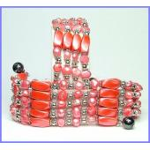 36inch Orange Pearl Magnetic Wrap Bracelet Necklace All in One Set