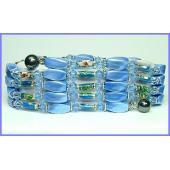 36inch Blue Cloisonne , Crystal,Magnetic Wrap Bracelet Necklace All in One Set