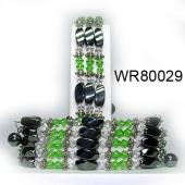36inch Green Crystal,Alloy Magnetic Wrap Bracelet Necklace All in One Set