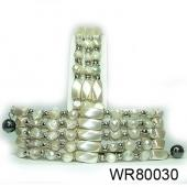 36inch White Pearl Magnetic Wrap Bracelet Necklace All in One Set