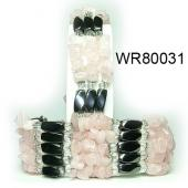 36inch Rose Quartz Chip Magnetic Wrap Bracelet Necklace All in One Set
