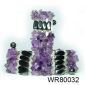 36inch Amethyst  Chip Stone Magnetic Wrap Bracelet Necklace All in One Set