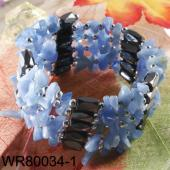 36inch Blue Aventurine Chip Stone Magnetic Wrap Bracelet Necklace All in One Set