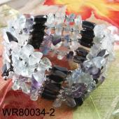 36inch Natural Fluorite Chip Stone Magnetic Wrap Bracelet Necklace All in One Set