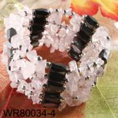 36inch Rose Quartz Stone Chip Magnetic Wrap Bracelet Necklace All in One Set