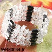 36inch White Clear Crystal Quartz Stone Chip Magnetic Wrap Bracelet Necklace All in One Set