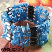 36inch Blue Turquoise Stone Chip Magnetic Wrap Bracelet Necklace All in One Set