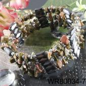 36inch Unakite Chip Stone Magnetic Wrap Bracelet Necklace All in One Set