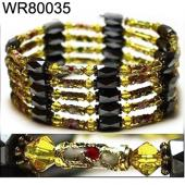 36inch Gold Cloisonne Magnetic Wrap Bracelet Necklace All in One Set