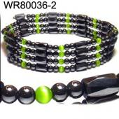 36inch Green Cat's Eye Opal Magnetic Wrap Bracelet Necklace All in One Set