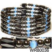 36inch Blue Cat's Eye Opal Hematite Magnetic Wrap Bracelet Necklace All in One Set