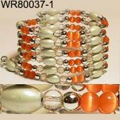 36inch Orange Cat's Eye Opal Magnetic Wrap Bracelet Necklace All in One Set
