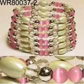 36inch Pink Cat's Eye Opal Magnetic Wrap Bracelet Necklace All in One Set