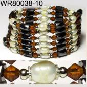 36inch Coffee Glass, Freshwater Pearl Magnetic Wrap Bracelet Necklace All in One Set