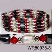 36inch Red Glass, Freshwater Pearl Magnetic Wrap Bracelet Necklace All in One Set