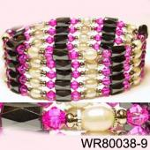 36inch Rose Red Glass, Freshwater Pearl Magnetic Wrap Bracelet Necklace All in One Set