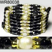 36inch Golden Alloy ,Pearl Magnetic Wrap Bracelet Necklace All in One Set