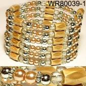 36inch Golden Plastic ,Glass, Magnetic Wrap Bracelet Necklace All in One Set