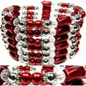 36inch Red Plastic ,Glass,Magnetic Wrap Bracelet Necklace All in One Set