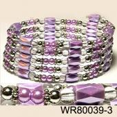 36inch Purple Plastic ,Glass, Magnetic Wrap Bracelet Necklace All in One Set