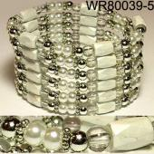 36inch White Plastic ,Glass, Magnetic Wrap Bracelet Necklace All in One Set