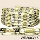 36inch Cream-colored Plastic ,Glass,Magnetic Wrap Bracelet Necklace All in One Set