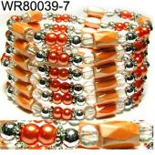 36inch Orange Plastic ,Glass,Magnetic Wrap Bracelet Necklace All in One Set