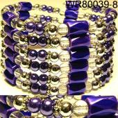 36inch Navy Blue Plastic ,Glass,Magnetic Wrap Bracelet Necklace All in One Set