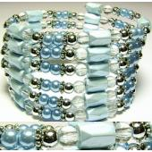 36inch Light Blue Plastic ,Glass,Magnetic Wrap Bracelet Necklace All in One Set