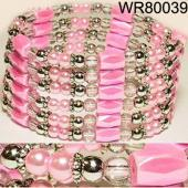 36inch Pink Plastic ,Glass, Magnetic Wrap Bracelet Necklace All in One Set