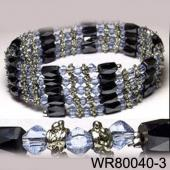 36inch Light Blue Glass ,Alloy,Magnetic Wrap Bracelet Necklace All in One Set