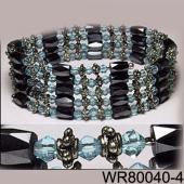 36inch Sky Blue Glass ,Alloy,Magnetic Wrap Bracelet Necklace All in One Set