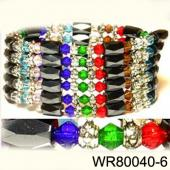 36inch Multi-Colored Glass ,Alloy,Magnetic Wrap Bracelet Necklace All in One Set