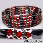 36inch Red Glass ,Alloy,Magnetic Wrap Bracelet Necklace All in One Set