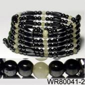 36inch White Cat's Eye Opal,Hematite,Magnetic Wrap Bracelet Necklace All in One Set