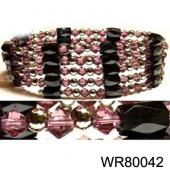 36inch Pink Glass,Magnetic Wrap Bracelet Necklace All in One Set