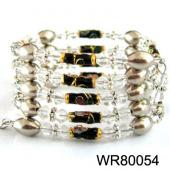 36inch Black Cloisonne ,Glass Beads,Magnetic Wrap Bracelet Necklace All in One Set