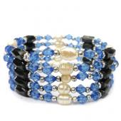 36inch Freshwater Pearl , Blue Glass Beads,Magnetic Wrap Bracelet Necklace All in One Set