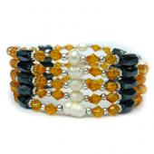 36inch Freshwater Pearl , Gold Glass Beads, Magnetic Wrap Bracelet Necklace All in One Set