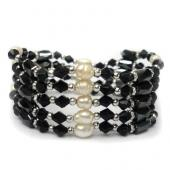 36inch Freshwater Pearl , Black Glass Beads,Magnetic Wrap Bracelet Necklace All in One Set