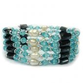 36inch Sky Blue Glass Beads, Freshwater Pearl,Magnetic Wrap Bracelet Necklace All in One Set